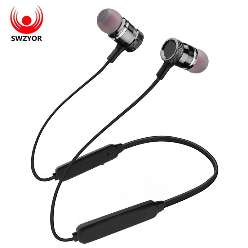 SWZYOR LY-16 Metal Magnetic Bluetooth Earphone Neckband Sports Wireless Headphone Headset Bass Earbuds For Xiaomi iPhoneWith MIC wireless bluetooth headset neckband stereo headphone support fm radio tf card microphone sport earphone for smartphone xiaomi