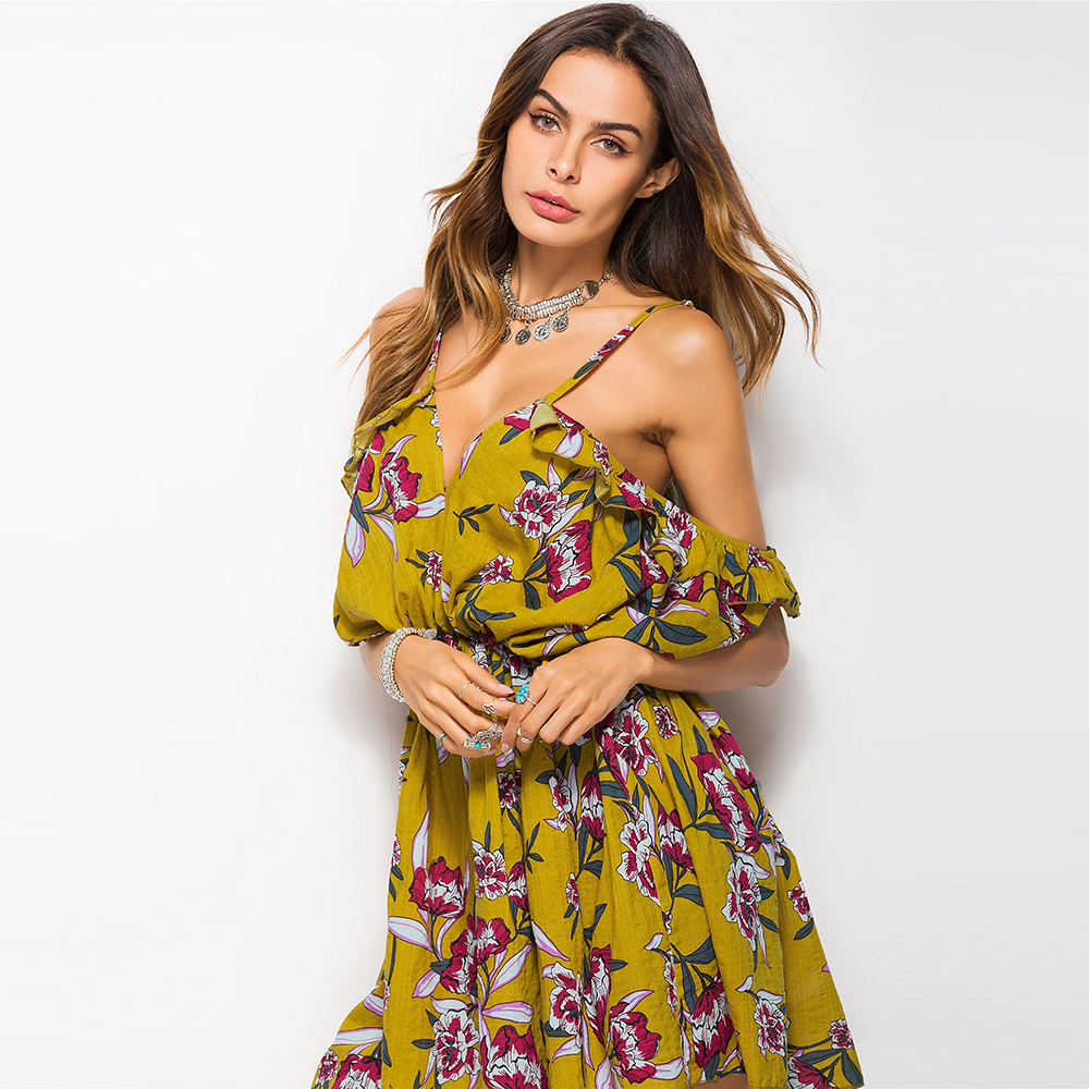 2018 Summer Style Cotton Party Dress Women Casual V neck ...