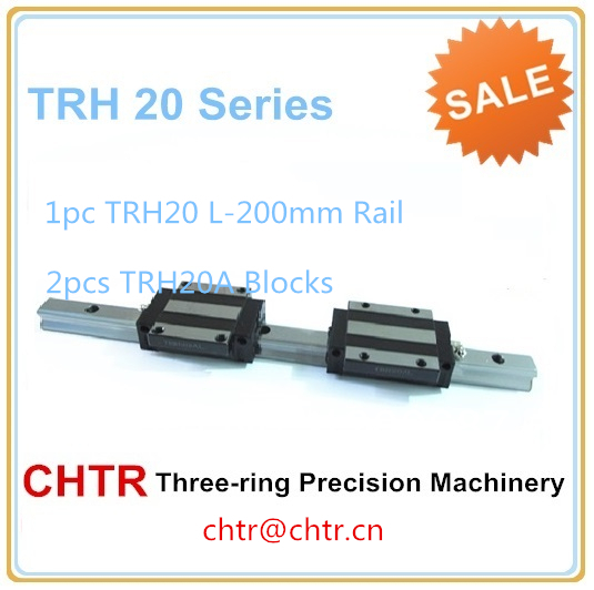 linear slide guide rail conveyor guide rails  (1pcs TRH20 L-200mm Rail+2 pcs TRH20A Flange Block) стоимость
