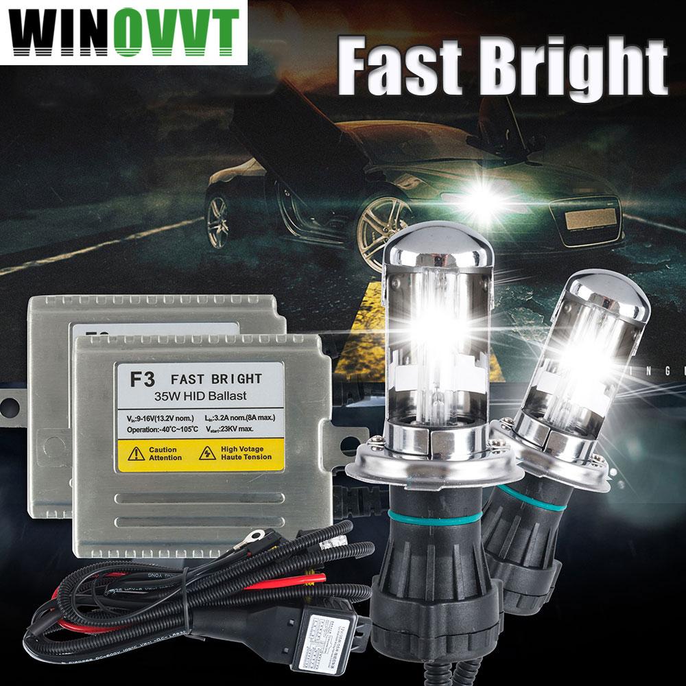 H4 xenon light H4 high low Fast bright 35w F3 H4 3 XENON HID KIT 4300k