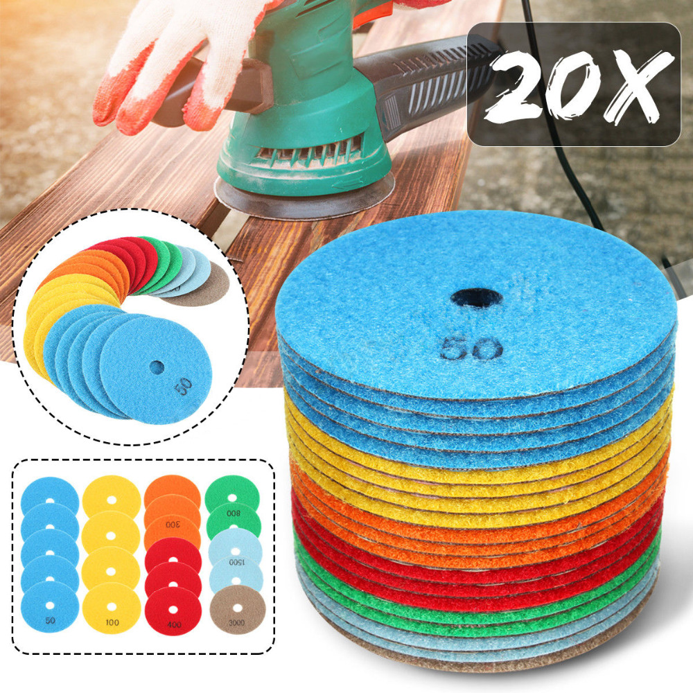 20Pcs Diamond 4 inch Polishing Pads Kit For Granite Stone Concrete Quartz Marble