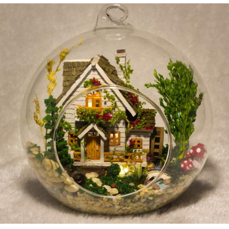 DIY Puppe Haus Miniatura Mini Glaskugel Modellbau Kits Holz Miniatur Baum  Haus Erwachsene Und Kinder Spielzeug