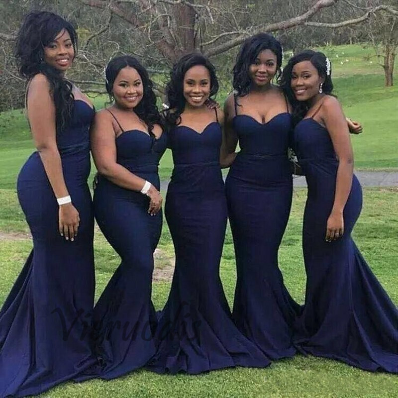 41-1         Navy Blue Spaghetti Sweetheart Satin Pleated Court Train Mermaid Bridesmaid Gowns Sexy Bridesmaid Dresses