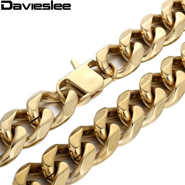 Aliexpress.com : Buy 18.5mm Heavy Mens Chain GOLD Tone Cut Curb ...