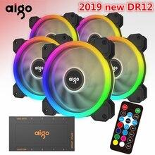 Aigo 2019 DR12 الكمبيوتر PC حالة مروحة RGB ضبط LED مروحة 120 مللي متر RGB مروحة هادئة الكمبيوتر البعيد مسند تبريد للاب توب مدمج به مكبر صوت RGB حالة المشجعين
