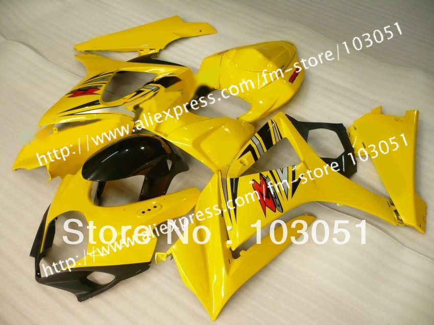 7 gifts body kits for SUZUKI GSXR 1000 2007 fairing GSXR 1000 fairings 2008 fairing K7 07 08 black with glossy yellow sy83 custom road fairing kits for suzuki glossy flat black 2006 gsxr 1000 k5 2005 gsx r1000 06 05 motorcycle fairings kit