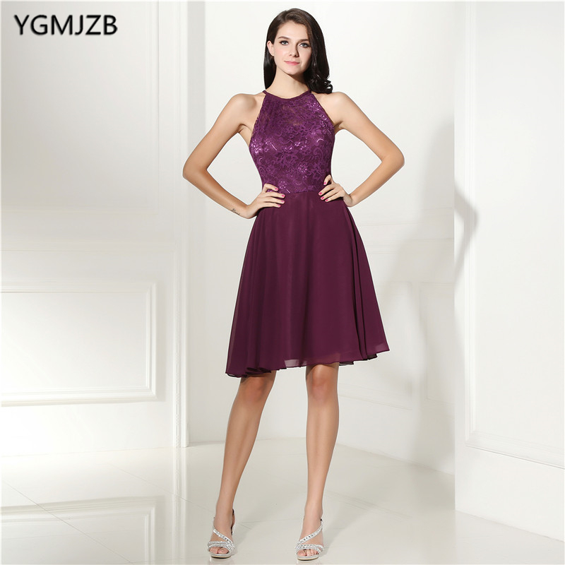 Women s Fashion Cocktail Dresses Lace A line Scoop Neck Sexy Open Back Knee  Length Purple Prom Homecoming Dresses Party Gown -in Cocktail Dresses from  ... c643bfa13ba7