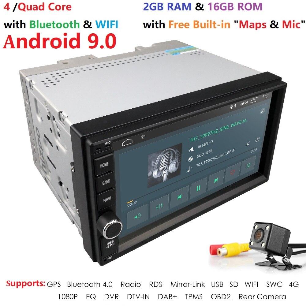 Quad Core Android 9.0 2 4G WI-FI Duplo DIN Carro DVD Player de Rádio Estéreo GPS Navi DVR DAB VERMELHO SWC BT MAPA Espelho-link 2G RAM FM/AM