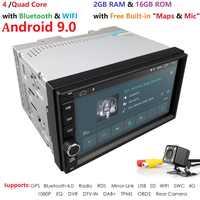 Quad Core Android 9.0 4G WIFI Doppel 2 DIN Auto DVD Player Radio Stereo GPS Navi ROT DVR TUPFEN SWC BT KARTE Spiegel-link 2G RAM FM/AM