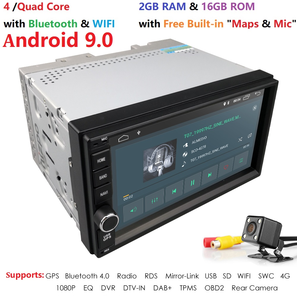 Quad Core <font><b>Android</b></font> 9.0 4G WIFI Double 2 DIN Car DVD Player Radio Stereo GPS Navi RED DVR DAB SWC BT MAP Mirror-link 2G RAM FM/AM