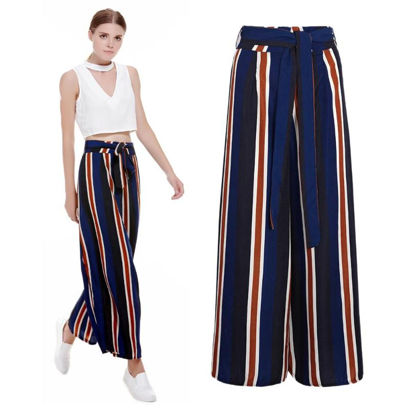 Summer Women Casual Colorful Vertical Stripes Pants Fashion Elasti