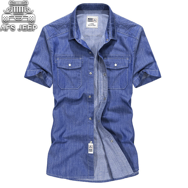 dce507fd573 Camisa Masculina New 2018 Original Brand AFS JEEP Men Jeans Shirt 100%  Cotton Short Sleeve