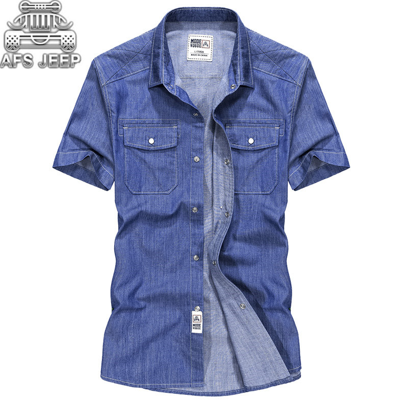 Camisa Masculina New 2018 Original Brand AFS JEEP Men Jeans Shirt 100% Cotton Short Sleeve Summer Short Sleeve Sweat Soft