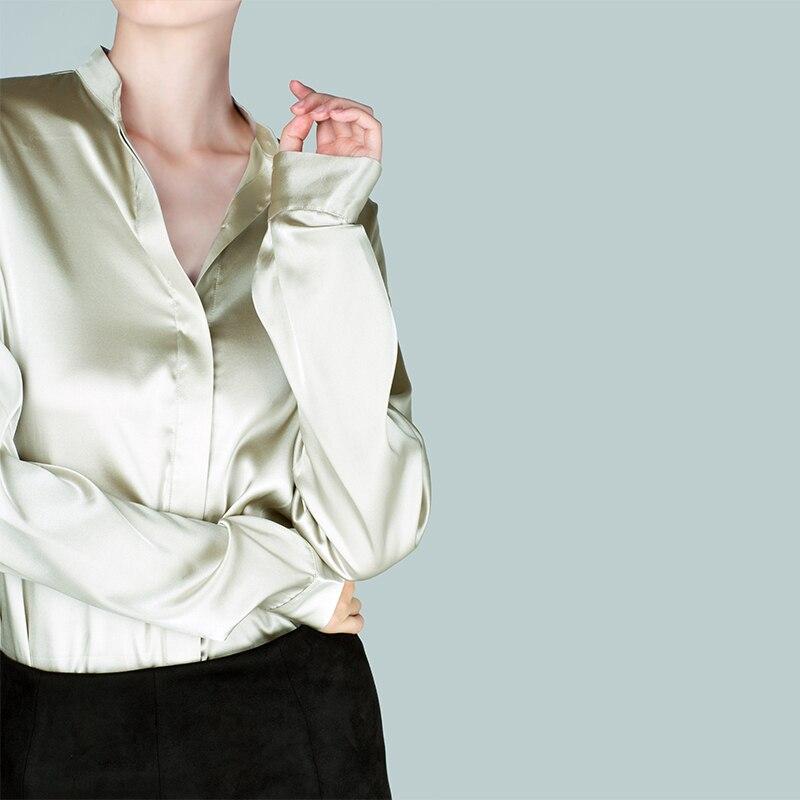 Trabajo Natural Real Ropa Sólido Camisa Larga as Manga Seda Photo Photo Para Blusa As Oficina Camisas Mujeres Color De Blusas 0w1FrxZ0