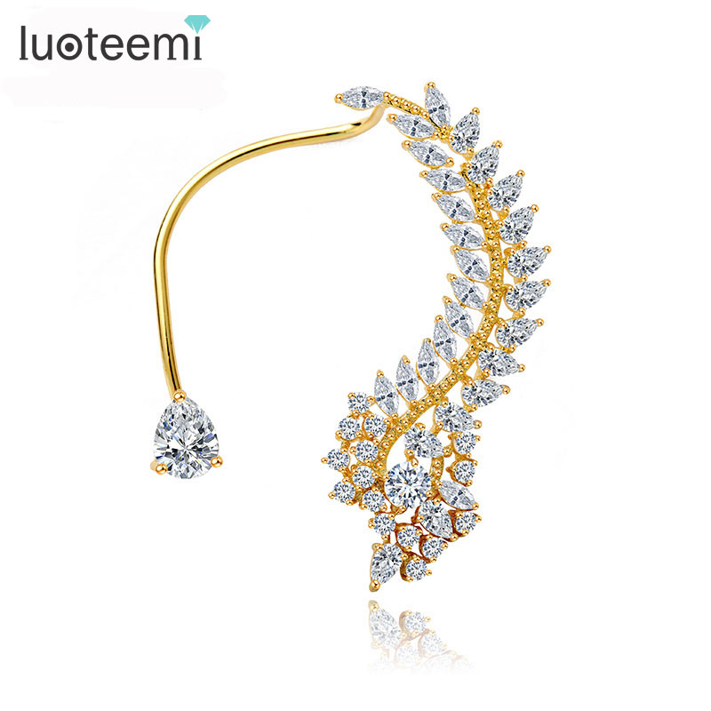 LUOTEEMI New Fashion 1pc Crystal Rhinestone 3 Colors Choose Ear Cuff Clip Earrings Quality Jewelry Gift for Women Girl Brincos pair of trendy geometric rhinestone alloy ear cuff for women