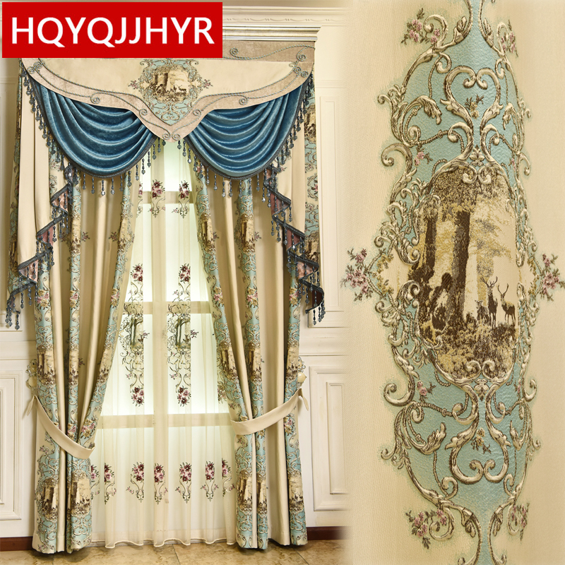 Top Luxury Jacquard 3D Deer Pattern Curtains For Living Room With High Quality Embroidered Tulle For Bedroom/kitchen/hotel