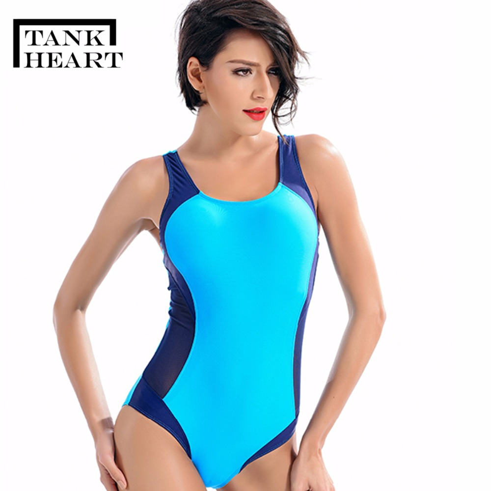 Tank Heart Blue One Piece Swimsuit Plus size Swimwear Large Sizes Professional Sports One-Piece Suits Trikini Bathing Suit S-XL