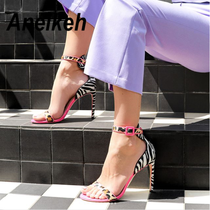 Aneikeh Rose Red High Heel Sandals Fashion Leopard Zebra Pattern Stitching Buckle With Pointed Shallow Mouth Open Toe SandalsAneikeh Rose Red High Heel Sandals Fashion Leopard Zebra Pattern Stitching Buckle With Pointed Shallow Mouth Open Toe Sandals