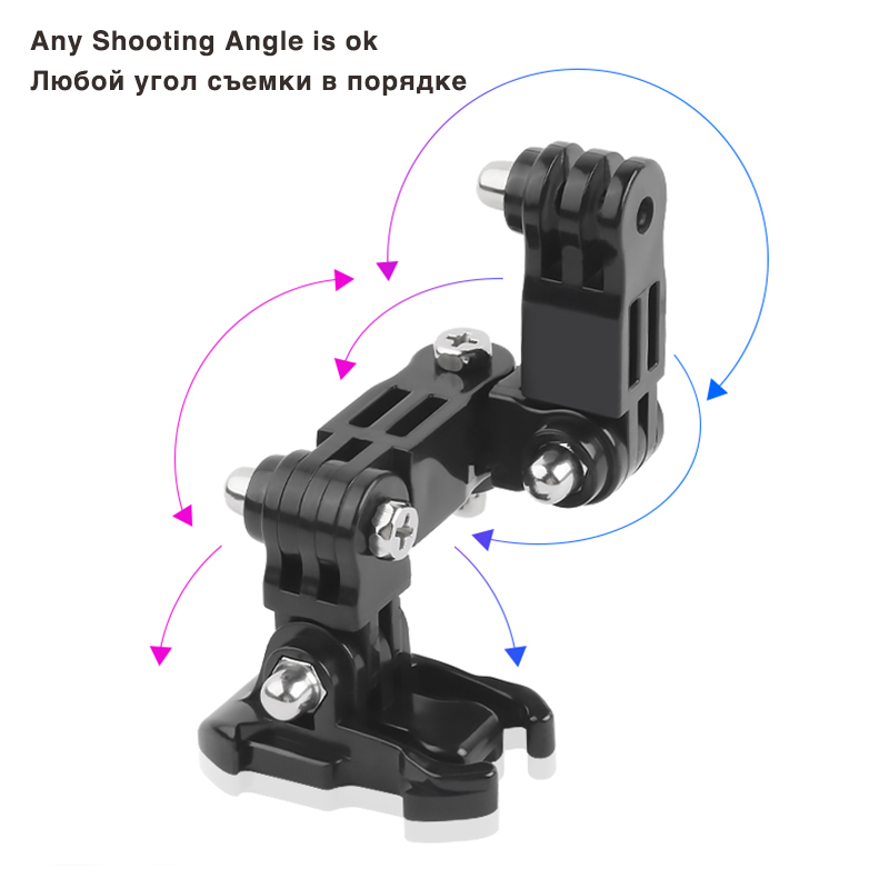 Image 4 - Front Side Helmet Accessories Set J shaped Buckle Base Support Mount for GoPro Hero 5 6 7 4 Xiaomi Yi 4K SJCAM Go Pro Kits-in Sports Camcorder Cases from Consumer Electronics