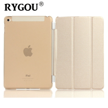 RYGOU For Apple ipad mini 4 PU Leather Magnetic Front Smart Cover+Crystal Hard Back Case Shell/TPU Solid Color Soft Case