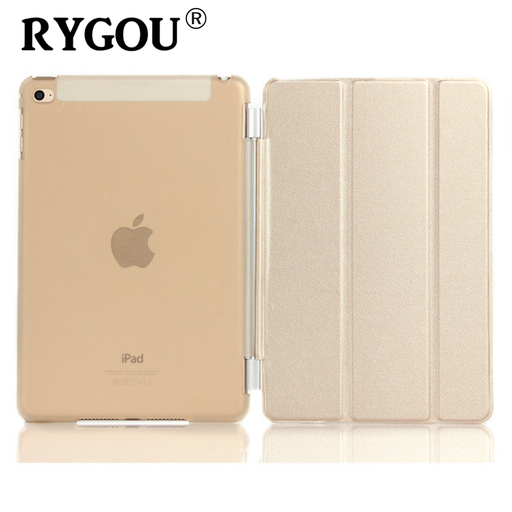 RYGOU For Apple ipad mini 4 PU Қожа Магнитті Алдыңғы Smart Cover + Crystal Қатты Артқы Қағаз Shell / TPU Solid Color Soft Case