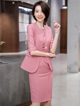 Женский деловой костюм с полурукавами, розовый пиджак и платье для офиса, костюм для работы, весна лето 2019