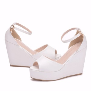 Image 4 - Crystal Queen Superior Bohemian Wedges Women Sandals For Ladies Shoes High Platform Open Toe White Pu High Heel Pumps Wedges