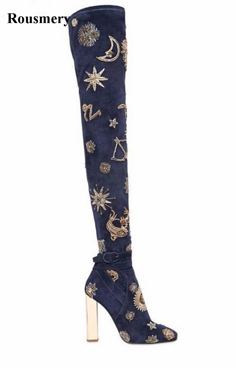 High Quality Women New Fashion Blue Embroidery Over Knee High Heel Boots Sexy Slim Style Printed Stiletto Heel Long Boots women s embroidery bomber jacket 2017 autumn high quality floral printed jacquard black