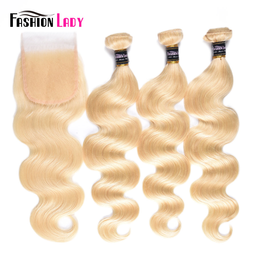 Fashion Lady Brazilian Body Wave Platinum Blonde Hair Bundles With Closure 100% Human Hair 3 Bundles With Lace Closure Free Part