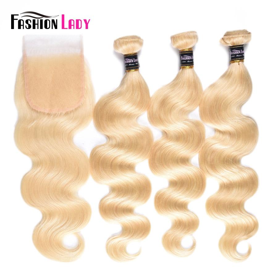 Fashion Lady Brazilian Body Wave Platinum Blonde Hair Bundles With Closure 100% Human Hair 613 Bundles With Lace Closure