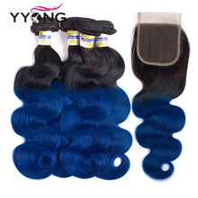 YYong T1b/blue Brazilian Body Wave 4 Bundles With Closure 4x4 Free/Middle/Three Part Ombre Human Hair Bundles With Closure(China)