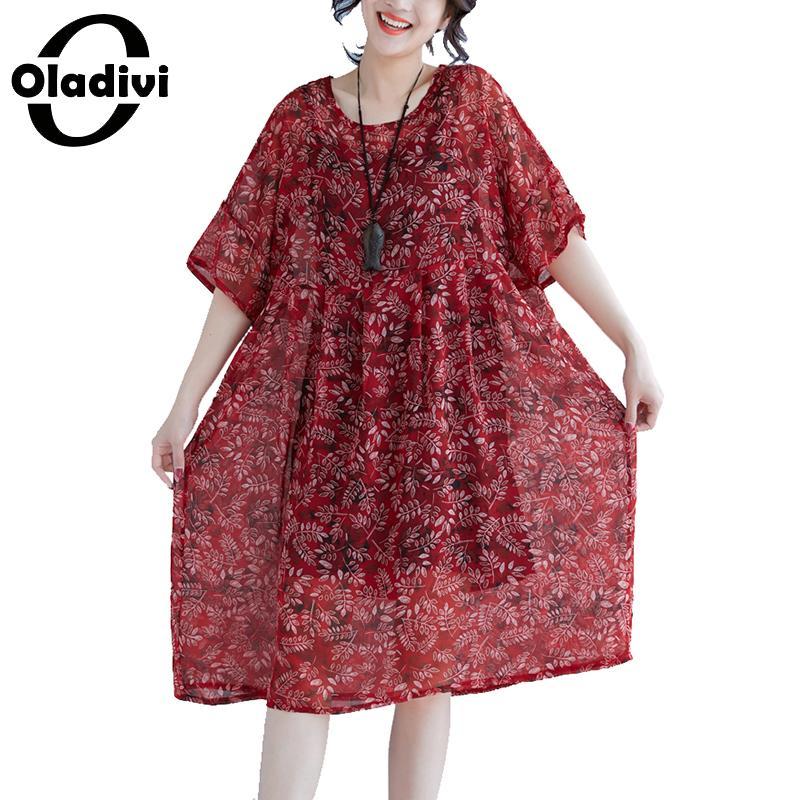 Oladivi Brand Fashion Print Casual Chiffon Dess Woman Loose Plus Size Short Sleeve Dresses Ladies Long Top Shirt Tunics Vestidio