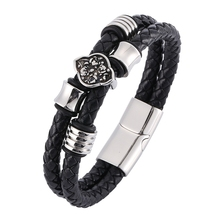 Double Braided Leather Bracelet Men Stainless Steel Magnetic Clasp Bangles Charm accessories Fashion Punk Male Jewelry BB0340 jiayiqi punk men jewelry braided leather bracelet stainless steel magnetic clasp fashion bangles 22cm