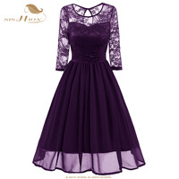 SISHION Elegant Chiffon Lace Dress Women 3 4 Sleeve Sexy Floral Club Party Christmas Dress Black