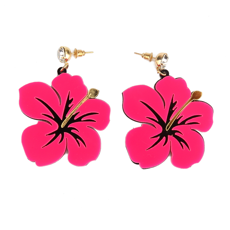 European Fashion Personality Crystal Blue Pink Acrylic Flower Stud Earrings For Women Jewelry Accessories