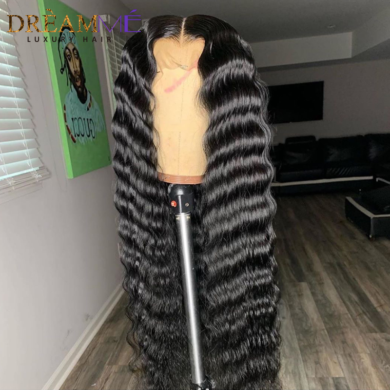 Image 3 - 13*6 Deep Part Lace Front Human Hair Wig For Black Women PrePlucked Brazilian Deep Wave Wig With Baby Hair Remy Wig Full End-in Human Hair Lace Wigs from Hair Extensions & Wigs