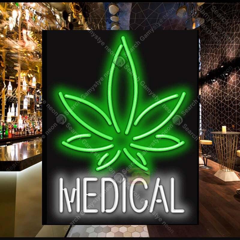 Médical avec feuille néon lumière signe Tube de verre néon ampoule signe décor mur magasin café néon panneau signe lampe anuncio luminoso Atarii