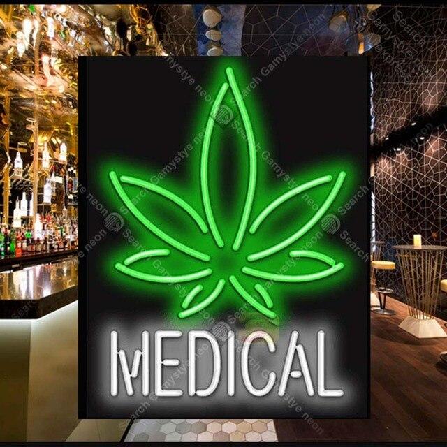 Medical With Leaf Neon Light Sign Gl Bulb Decor Wall Coffee Board Lamp Anuncio Luminoso Atarii