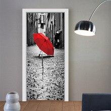 Pegatinas de imitación 3d para puerta de calle, paraguas rojo en el suelo, pegatinas autoadhesivas para la renovación de puerta del dormitorio