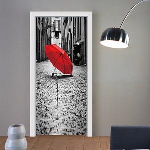 Image 1 - Đường phố Chiếc Ô Màu Đỏ Trên Mặt Đất Giả 3d Dán Cửa Phòng Khách, phòng ngủ Cửa Đổi Mới Dán Tự dính