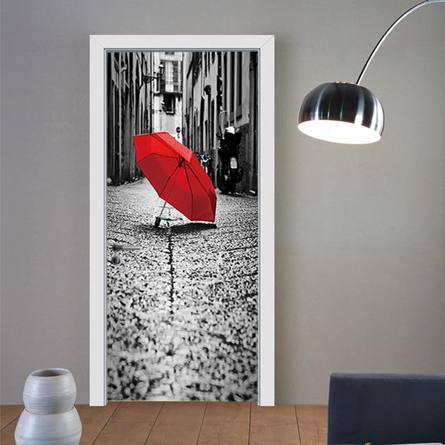 Đường phố Chiếc Ô Màu Đỏ Trên Mặt Đất Giả 3d Dán Cửa Phòng Khách, phòng ngủ Cửa Đổi Mới Dán Tự dính