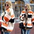 Осень-зима женщин полосой искусственного меха пальто куртки женщин теплый пушистый куртки, ветровки многоцветный верхняя одежда одежда