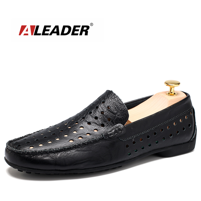 Aleader Luxury Breathable Loafers Genuine Leather Mens Casual Shoes Fashion Summer Driving Shoes For Men Hollow Soft Flats Male 2017 new fashion summer spring men driving shoes loafers real leather boat shoes breathable male casual flats