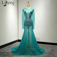 Luxury Illusion Sexy Mermaid Evening Dresses Turquoise Long Evening Gowns Full Sleeves Crystal Beaded Abiye Robe De Soiree 2018