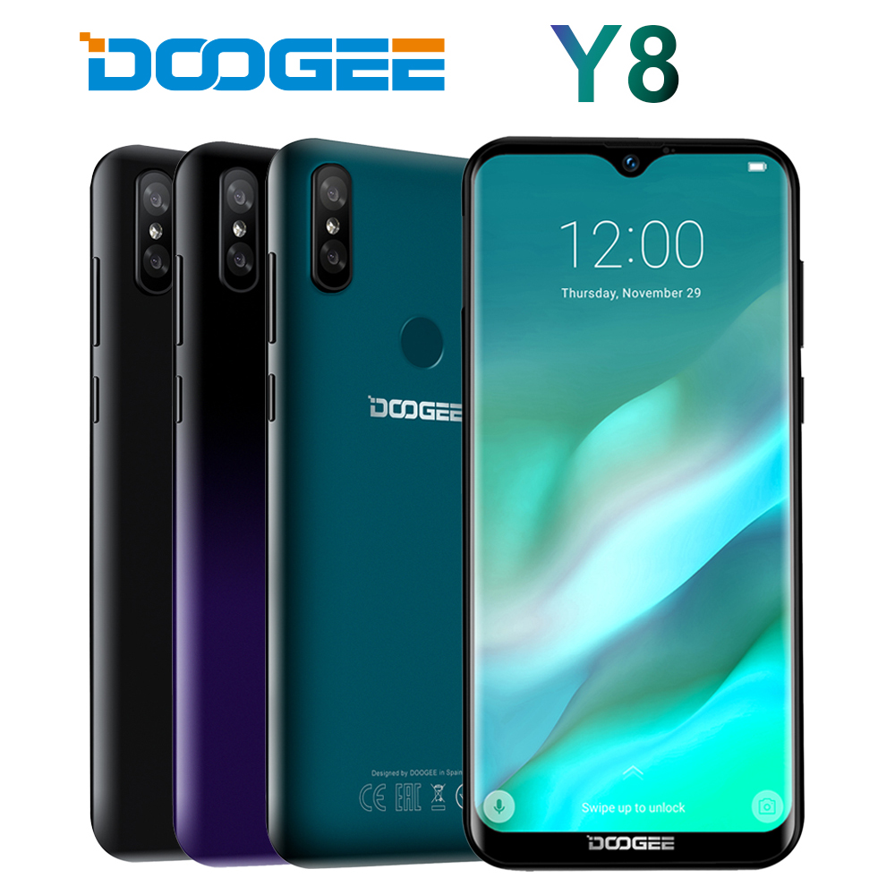 DOOGEE Y8 Android 9.0 MTK6739 smartphone Quad Core 6.1 pouces FHD 19:9 8MP + 8MP 3 GB 16 GB 3400 mAh 4G LTE téléphone Mobile