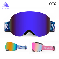 OTG Ski Goggles Snow The Rimless Glasses Interchangeable Spherical Lenses Wide Vision Double layered Skiing Snowboard Anti fog