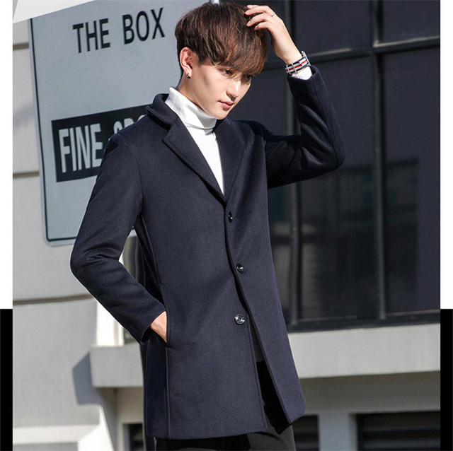 TEAEGG Turn Down Collar Casual Winter Wool Coat Men Blends Abrigo Hombre Invierno Thick Wine Red Mens Overcoat Outwear AL576 5