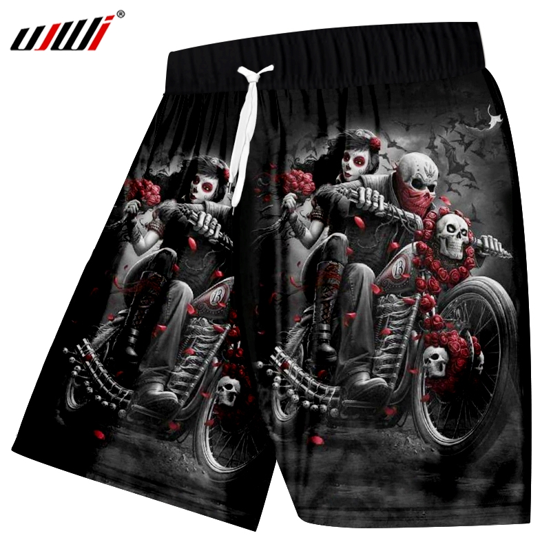 UJWI Casual Shorts Men's 2019 Summer New Style Rose Motorcycle Skull 3D Printed  Large Size Leisure Shorts