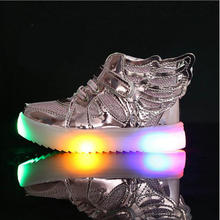 Girls Led Shoes New Spring Autumn Wings Led Shoes Girls Princess Cute Shoes With Light Children Lighted Sneakers 21-36