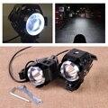 2pcs Motorcycle Black U5 Headlight Driving LED Spotlight Fog Light Lamp Fit for Yamaha Harley BMW Honda Suzuki Kawasaki Ducati